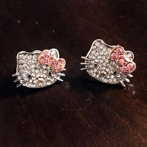 Sparkle Pink Bow Hello Kitty Stud Earrings